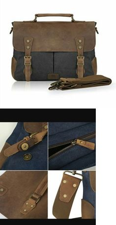 Briefcases and Laptop Bags 169293  Smriti Vintage Leather Canvas Laptop  Messenger Bag Briefcase 14-Inch - Black -  BUY IT NOW ONLY   49.99 on eBay! d592e04663