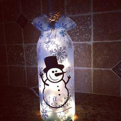 Snowman wine bottle light от BERKSWINEDESIGN на Etsy