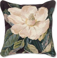 Magnolia Needlepoint Pillow. Southern Magnolia Needlepoint Pillow - Floral Needlepoint Pillows at NeedlepointPillows.com