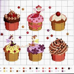 schema a punto croce - cupcakes Cupcake Cross Stitch, Mini Cross Stitch, Cross Stitch Charts, Cross Stitch Patterns, Cross Stitch Gallery, Cross Stitch Designs, Cross Stitching, Cross Stitch Embroidery, Diy Bordados