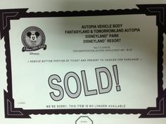 Sold sign from Disney sale of Autopia car bodies