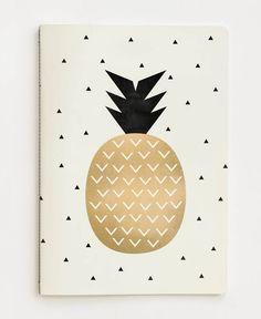 Golden Pineapple en Carnet de notes par Elisabeth Fredriksson   JUNIQE