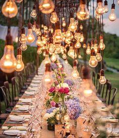 "Beautiful lighting and setting idea. | Repost from Country Living (@countrylivingmag) on Instagram: ""Pure magic. ✨#CLdecor #weddingseason #love (📸: @studioimpressions via @kristywicks)"""