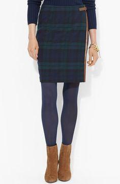 Lauren Ralph Lauren Leather Trim Plaid Pencil Skirt available at #Nordstrom