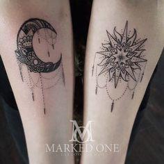 Best Women Tattoo - Girly forearm piece. matching arm for girly tattoo. Sun and moon chandelier tatt...