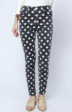 Dots Pattern Slim Fit Black Jeans