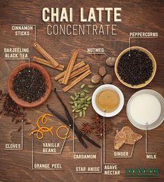 use to make chai tea extract for cocktails. (lots of chai tea bags + vodka) Homemade Chai Tea, Organic Homemade, Best Chai Tea Recipe, Chai Tea Concentrate Recipe, Herbal Tea, Chai Syrup Recipe, Chai Coffee Recipe, Vegan Recipes, Indian Recipes