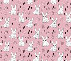 Adorable geometric rabbit baby easter spring bunny for kids scandinavian woodland theme in pink fabric surface design by Little Smilemakers on Spoonflower - custom fabric and wallpaper inspiration
