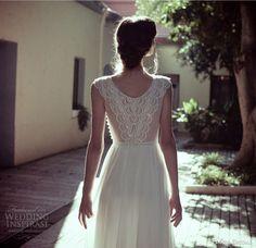 Flora Bridal 2014 madeline sleeveless beaded bodice wedding dress back view