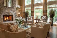 Furniture arrangement, also love the built ins and fire place