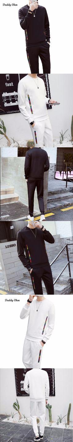2017 Men's sets casual male two piece sets fashion tracksuit for men black white color letter pattern hip hop style set suit