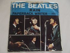 BEATLES 45rpm record  RAIN / Paperback by rosiesrecycledcrafts