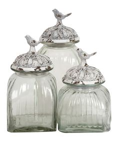 Glass Bird Jar Set
