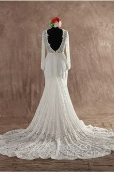 Sexy Trumpet-Mermaid Jewel Natural Court Train Lace Ivory Long Sleeve Open Back Wedding Dress with Sashes and Appliques LWVT1400C #weddingdress #cocomelody