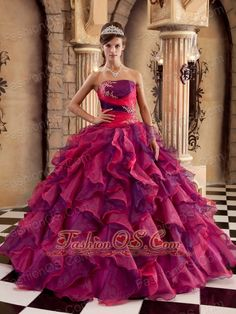 Brand New Multi-color Quinceanera Dress Strapless Organza Ruffles Ball Gown  http://www.fashionos.com   It has a very fashionable pleated bodice. The skirt has an amazing shape and creates a beautiful silhouette. Be the belle of the ball in this gorgeous white prom dress.The A-line skirt is made completely of ruffles that alternate in size around the dress.