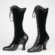 Patent Leather and Velvet Boots, ca. 1890-1920  via Bata Shoe Museum