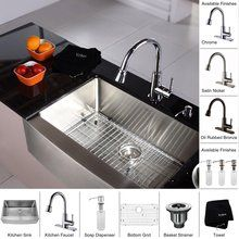 "View the Kraus KHF200-30-KPF2220-KSD30 29-3/4"" Farmhouse Single Bowl 16 Gauge Stainless Steel Kitchen Sink with Pullout Spray Kitchen Faucet and Soap Dispenser at FaucetDirect.com."