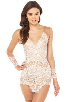 For Love & Lemons Antigua Mini Dress Lace and Mesh Sleeve in White