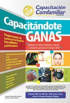 Cliente: Comfamiliar Risaralda. Flyer promocional de cursos de capacitación. Media carta Vertical. Propalcote de 225 gr.