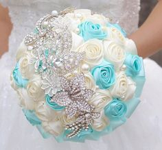 Tiffany Blue & Ivory Wedding bouquets, roses brooch bouquet, custom bridal bouquet http://hz.aliexpress.com/store/product/8-inch-Blue-Beige-Rose-brooch-bouquet-handmade-multicolor-optional-wedding-bridal-bouquets-corsages-send-groom/621238_1600478252.html