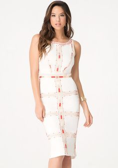 1233128b69ec3a bebe Embroidered Midi Dress Stylish Dresses