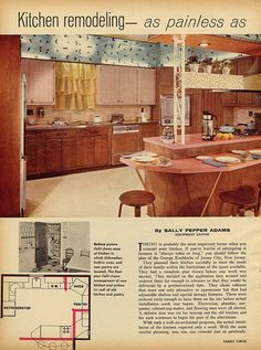 kitchen remodel - Family Circle Looks a lot like the one my parents build in 1955 in Short Hills, NJ. Home Design, House Design Photos, Cool House Designs, Design Room, Design Ideas, Vintage Interior Design, Beautiful Interior Design, Retro Design, Modern Interior