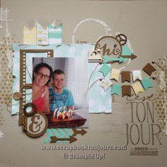Scrapbook toujours avec Isabelle Lefebvre Scrapbook Sketches, Scrapbook Pages, Stampin Up, Isabelle, Toddler Bed, Facebook, Frame, Youtube, Inspiration