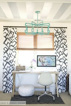 sarah m. dorsey designs: Home Tour - love the striped ceiling and painted light pendant