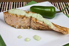 Salmon with Roasted Jalapeno-Yogurt Sauce Recipe