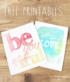 """We Lived Happily Ever After: """"Timelessly Trendy"""" Free Watercolor Printables #freeprintables #freeartprint"""