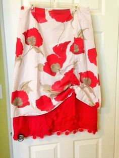 Paul Brial France Asymmetrical Ruched Layered Lagenlook Floral Skirt White Red #PaulBrial #Asymmetrical