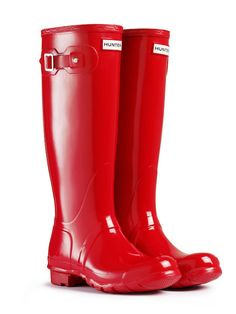 Hunter 'Original Tall' Gloss Rain Boot pillar box red