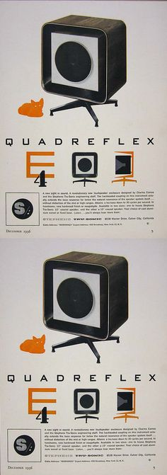 In addition to all of their other work, Charles and Ray #Eames found time to design this landmark loudspeaker enclosure for Stephens Trusonics, a Culver City company run by their friends. #quadreflex
