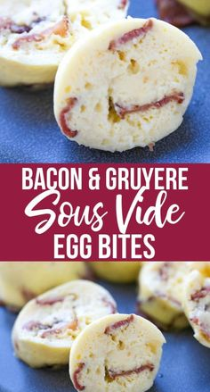 Bacon & Gruyere Sous Vide Egg Bites These pressure cooker Bacon & Gruyere Sous Vide Egg Bites are just like the ones you'd find at specialty coffee houses and delis. By making them at home in your Instant Pot , you'll have an amazing breakfast or lunch in Starbucks Sous Vide Eggs, Starbucks Egg Bites, Starbucks Recipes, Starbucks Breakfast, Starbucks Food, Starbucks Coffee, Egg Bites Recipe, Recipe Recipe, Vegetarian