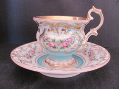 Antique KPM Cup and Saucer Hand Painted C 1840 Footed Pedestal Berlin