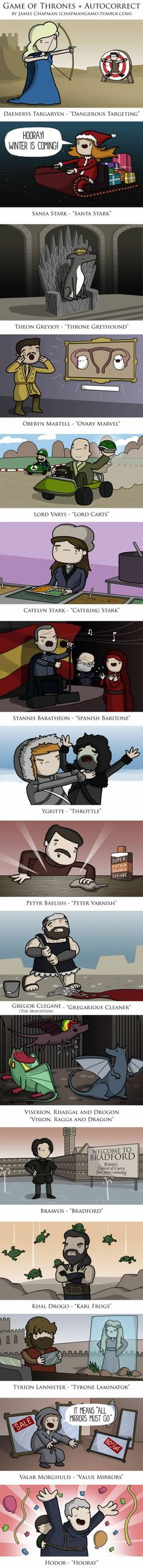 Game of Thrones + Autocorrect (By James Chapman)