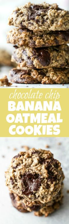 Chocolate Chip Banana Oatmeal Cookies - Chocolate chip banana oatmeal cookies made with healthy ingredients and loaded with plenty of chocolate and oats! They're gluten-free, vegan, and make a perfect snack for any time of the day! Healthy Cookie Recipes, Healthy Cookies, Gluten Free Cookies, Healthy Treats, Healthy Desserts, Baking Recipes, Vegan Sweets, Vegan Snacks, Free Recipes