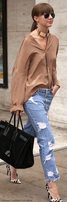 Street Style | NYFW deconstructed jeans they are everywhere. Get the Bree 's with CAbi