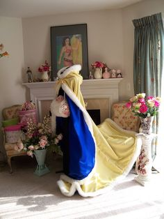 Belle & Prince Bridal cape 65-inch Yellow Canary / Blue Cobalt Satin with Fur Trim Wedding Cloak Handmade in USA