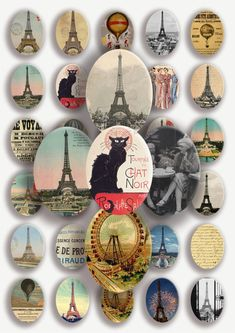 Digital Collage Sheet  PARIS 30x40 mm oval by babushkadesign, $3.50
