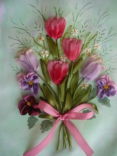 Gallery.ru / Spring Bouquet - Embroidery ribbons, Part 2 - silkfantasy