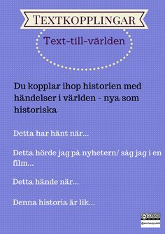 Text-till-världen Swedish Language, Classroom Tools, Aktiv, Teaching Materials, Primary School, Teaching English, Creative Writing, Good To Know, Back To School