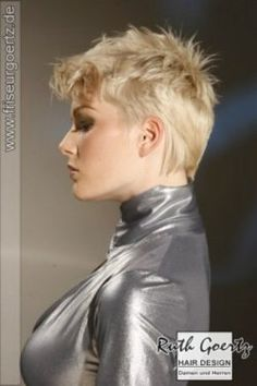 Pixie cut with spikes for blonde hair.