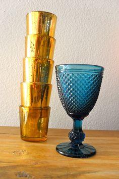 gold mercury tea light holders & teal textured glass