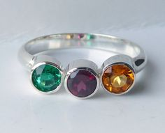 Triple Birthstone Ring Gemstone Ring Mothers by GizmosTreasures