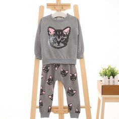 >> Click to Buy << 2017 Autumn Winter Cotton Children Hoodies Long pant 2 pieces set Kawaii Cartoon Kitten Cat Printed Casual sweatshirt Bottom #Affiliate