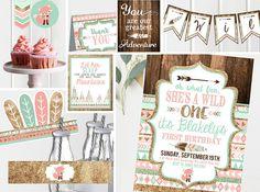 Wild ONE Pink First Birthday Invitation - Printable Invites and Decor - Tribal First Birthday - Wild One Birthday- Kit Instant Download