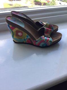 Ladies-Scholl-multi-coloured-wedges-sandals-size-UK-4