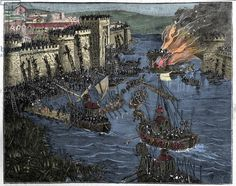 The Normans, led by Rollo, besieged Paris in 885, illustration from 'France and the French through the Century, 1884. Rollo (c. 846 – c. 931), baptised Robert and so sometimes numbered Robert I to distinguish him from his descendants, was a Norse nobleman of Norwegian or Danish descent who was founder and first ruler of the Viking principality which soon became known as Normandy. His descendants were the Dukes of Normandy, and following the Norman conquest of England in 1066, kings of…