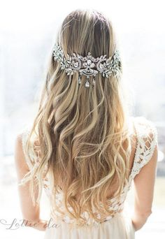 Long Wedding Hairstyle with Vintage Inspired Bridal Headpiece / http://www.deerpearlflowers.com/wedding-hairstyles-and-bridal-wedding-accessories/2/